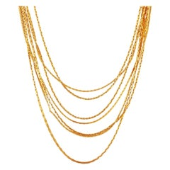 Gold Seven Strand Slinky Chain Necklace By Napier, 1970s