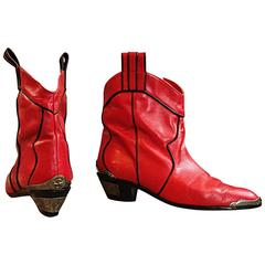 """Incredible Vintage """" Hippopotamus """" Red Ankle """" Lone Star """" Cowboy Boots Sz. 8.5"""