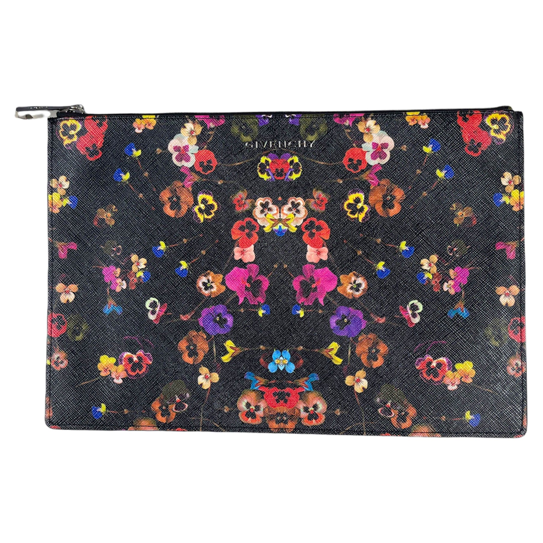 Givenchy Iconic Floral Prints Night Pansy Large Pouch Bag