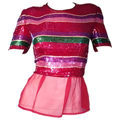 Vintage Victor Costa For Neiman Marcus Colorful Sequin Chiffon Peplum Crop Top