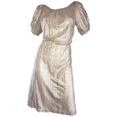 Vintage Sultana / Adini Silver and Gold Metallic Silk Crochet Short Sleeve Dress