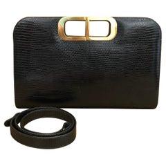 1980s Christian Dior Black Lizard Two Way Clutch Shoulder Bag