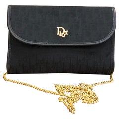1980s Christian Dior Black Trotter Jacquard Mini Chain Bag