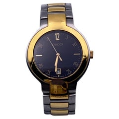 Gucci Gold Silver Stainless Steel Mod 8900 M Unisex Wrist Watch