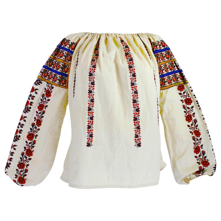 1930s Eastern European Geometric Floral Beaded and Embroidered Peasant Blouse 1