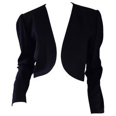 "Vintage Yves Saint Laurent "" Rive Gauche "" Black Cropped Bolero Jacket Sz 40 YSL"