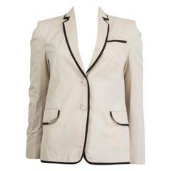 DRIES VAN NOTEN white cotton BLACK TRIM Blazer Jacket 34 XXS