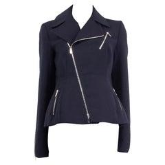 CHRISTIAN DIOR navy blue wool TAILORED BIKER Jacket 42 L