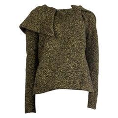 JIL SANDER black & yellow wool TWEED OVERSIZED HOOD Jacket 36 S