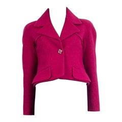 CHANEL raspberry pink wool 2018 CROPPE RAGLAN Jacket 36 XXS