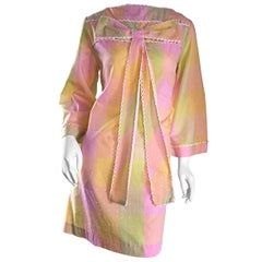 1960s Pastel Pink Plaid Embroidered 60s Shift Bow Dress w/ Amazing Bell Sleeves