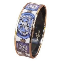 Hermès Vintage Enamel Bracelet Wedgwood Blue NEW Gold Hdw Size GM 70 RARE