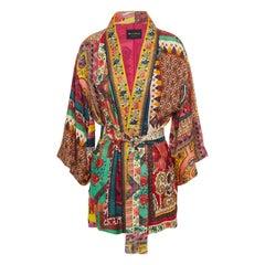 ETRO multicolor silk blend 2020 JACQUARD KIMONO Jacket 42 M