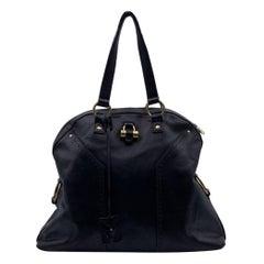 Yves Saint Laurent Black Leather Large Muse Tote Shoulder Bag