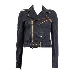 ALEXANDER MCQUEEN navy blue leather BIKER Jacket 40 S