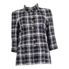CHANEL blue black white cotton 2019 PLAID TWEED Jacket 38 S