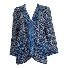 CHANEL blue cotton 2017 CHAIN EMBELLISHED OVERSIZED CROCHET KNIT Jacket 38 S