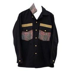 Embellished Jacket Black Military English Red White Black Tartan Wool J Dauphin