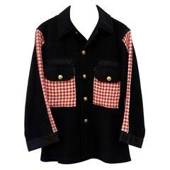Jacket Black Cotton Embellished Red White Vintage Designer Tweed J Dauphin