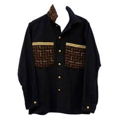 Black Jacket Military Embellished Designer Brown Wool Tweed Italy J Dauphin