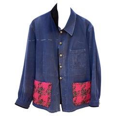 Vintage Designer Neon Pink Tweed Distressed Jacket Blue French Work Wear