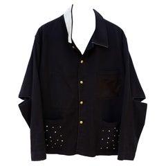 Jacket Crystal Distressed Soft French Work Black Embellished J Dauphin
