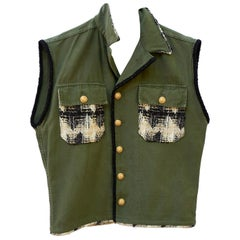 Sleeveless Jacket Vest Military Tweed Embellished Green Gold Buttons J Dauphin