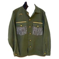 Green Cotton Military Jacket Embellished Designer Tweed Sequin Lurex J Dauphin