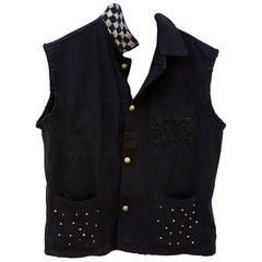 Sleeveless Jacket Vest Black Crystal Embellished Gold Buttons J Dauphin