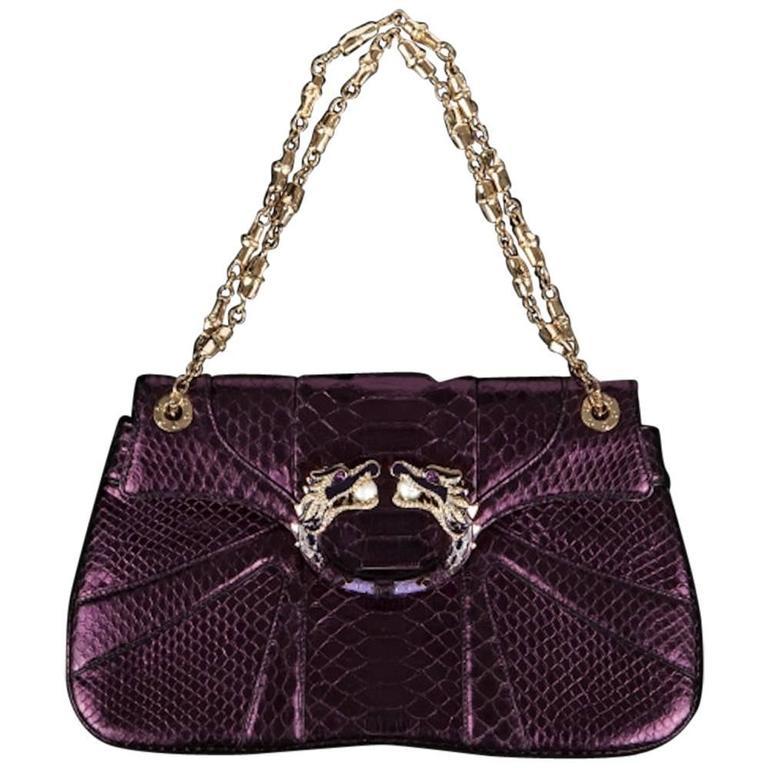 6c85bfbbd Gucci Tom Ford FW 2004 Dragon Pearl Jeweled Purple Python Snake Bag For Sale
