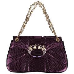 Gucci Tom Ford FW 2004 Dragon Pearl Jeweled Purple Python Snake Bag