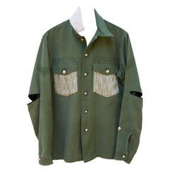 Jacket Cotton Green Military Designer White Silver Lurex Tweed J Dauphin