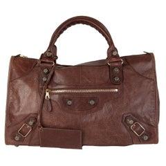 BALENCIAGA Castagna brown leather GIANT WORK Motorcycle Shoulder Bag
