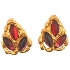 Carole St Germes Vintage Stone Clip Earrings