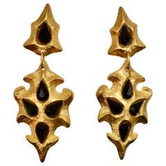Carole st Germes Faceted Black Crystal Drop Earrings