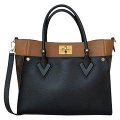 Louis Vuitton Black Calfskin Leather & Monogram On My Side Tote Bag w. Strap