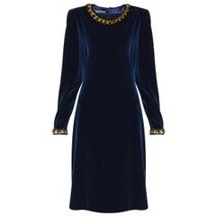 NEW ALEXANDER McQueen DARK BLUE VELVET DRESS 40/42