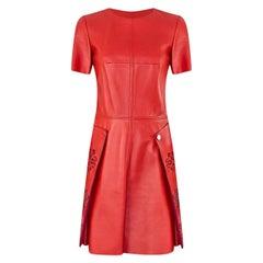 ALEXANDER McQueen RED LEATHER DRESS 38
