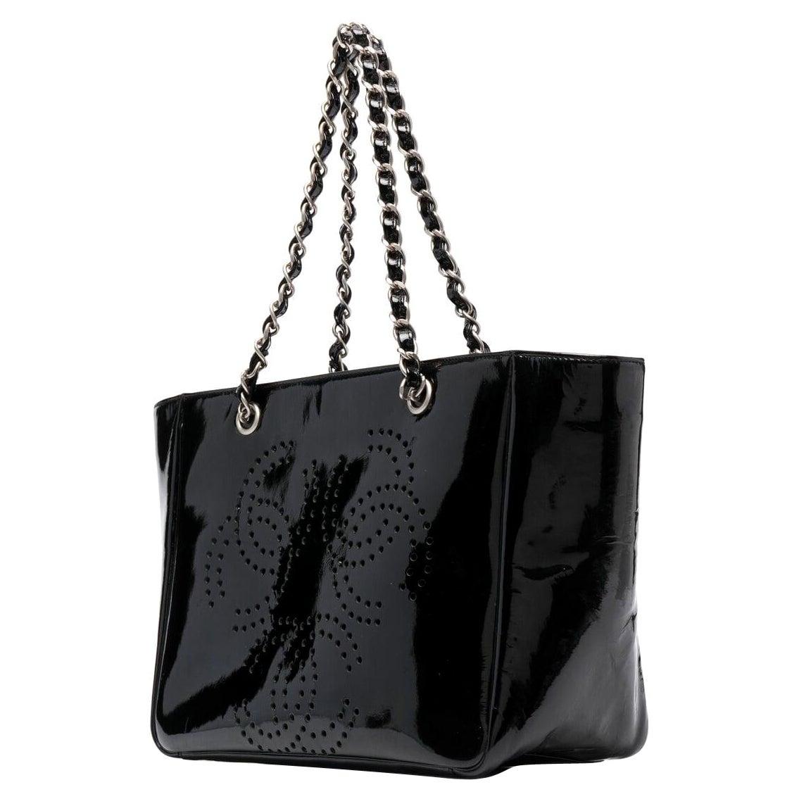 2000 Chanel Black Patent Leather Shoulder Tote Bag