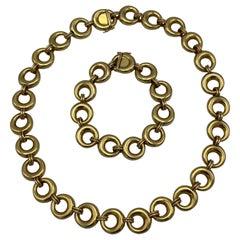 Vintage Chaumet Paris Yellow Gold Link Bracelet and Necklace Set