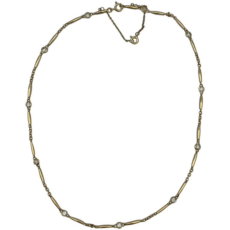 Vintage Cartier Yellow Gold and Diamond Chain Necklace  For Sale