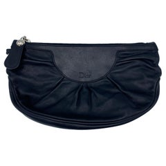 Vintage Christian Dior Black Leather Clutch Purse