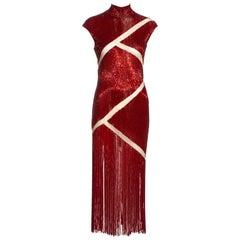 Alexander McQueen red beaded 'Joan' dress, fw 1998