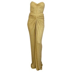 Michael Kors Gold Jersey Gown with Rhinestones