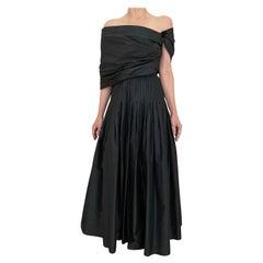 Vintage  Bill Blass Black Silk Tafetta Gown