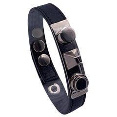 Yves Saint Laurent Black Leather Unique Stud Bracelet