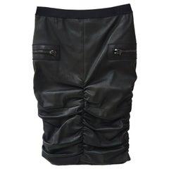 Tom Ford Draped Black Leather Skirt