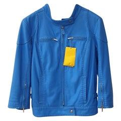 NWT Fendi  Blue Leather Jacket