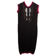 $2.7K CHANEL BLACK/PINK CASHMERE SEQUIN CHIC DRESS Sz.40