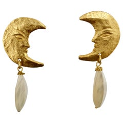 Carole St Germes Moon and Mother of Pearl Drop Earrings